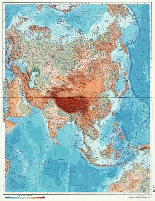 Large detailed geographical (physical) map of Eurasia.