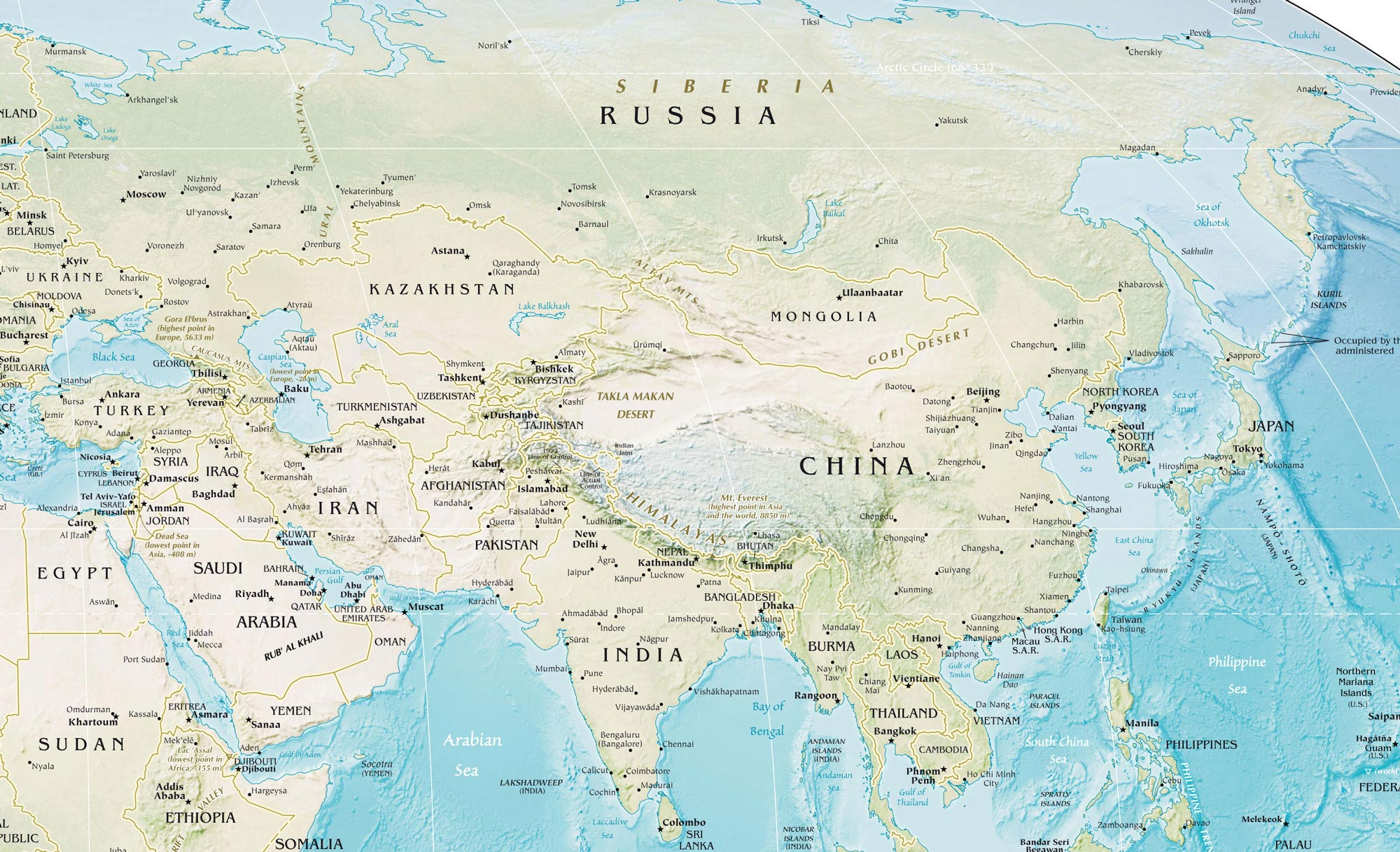 Large detailed physical map of Asia with relief Asia large detailed