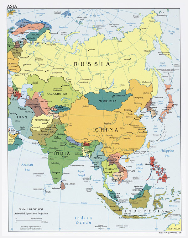 Large detailed political map of Asia with capitals and major cities - 2008.