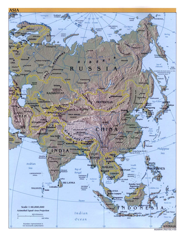 Large detailed political map of Asia with relief, capitals and major cities - 2000.