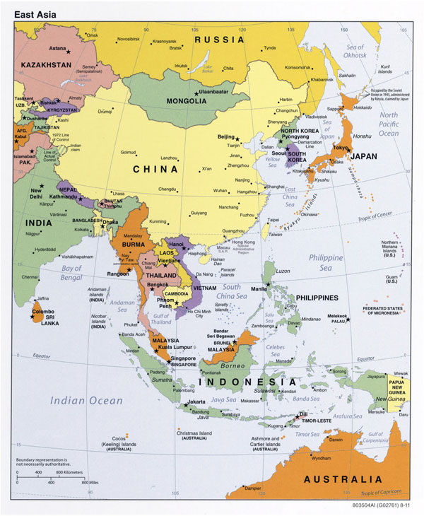 Large detailed political map of East Asia.