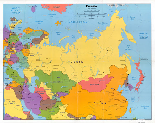 Large detailed political map of Eurasia wth capitals and major cities - 2006.