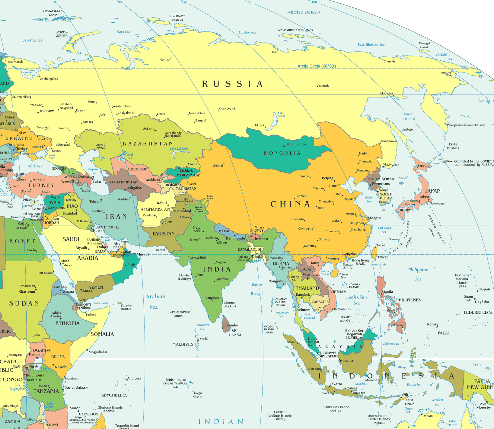 Large detailed political map of Asia Asia large detailed