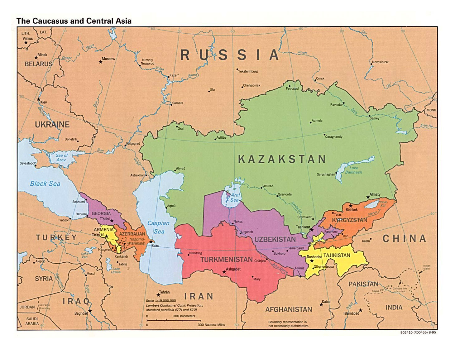 Large detailed political map of the Caucasus and Central Asia with – Asia Map with Capitals and Countries