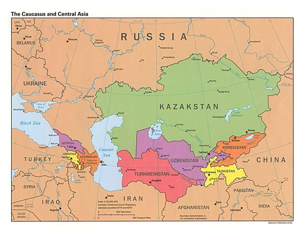 Large detailed political map of the Caucasus and Central Asia with capitals - 1995.