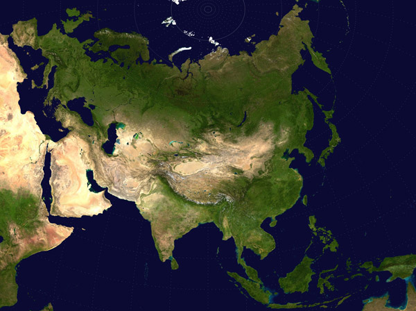 Large detailed satellite map of Asia.