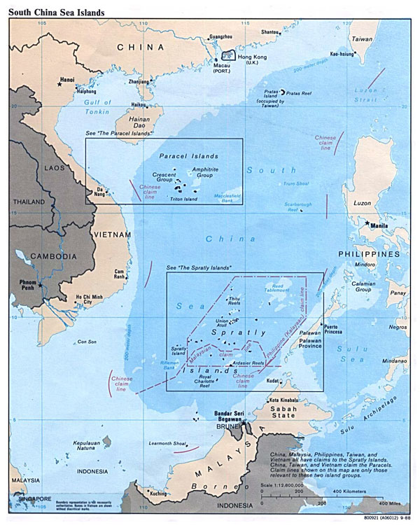 Large map of South China Sea Islands - 1988.