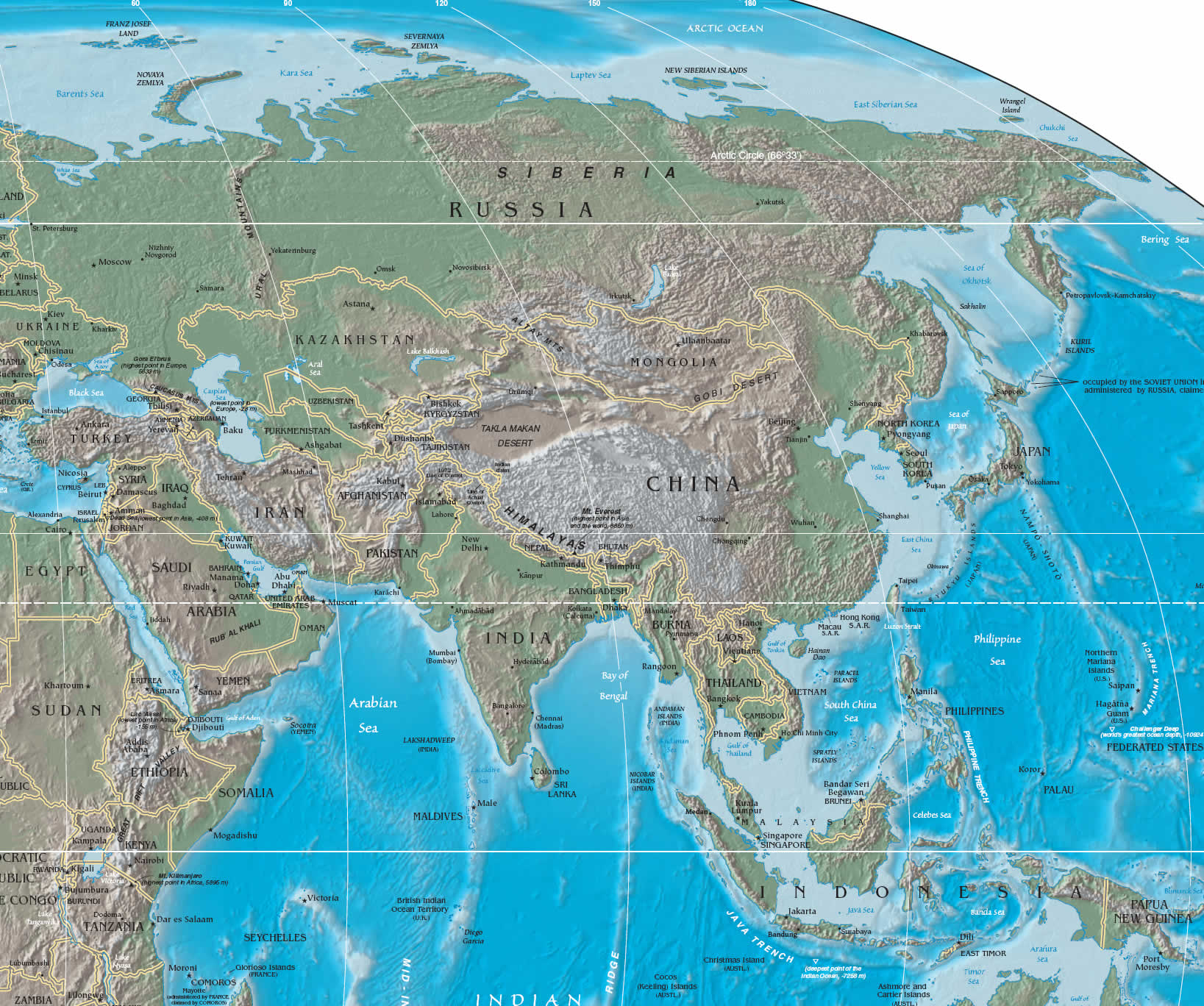Large physical and relief map of Asia. Asia large physical ...