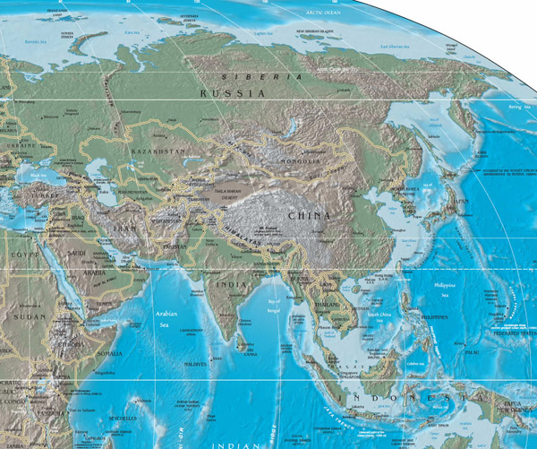Large physical and relief map of Asia.