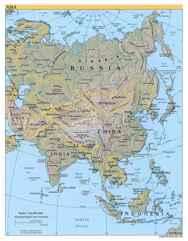 Large political map of Asia with relief - 2004.