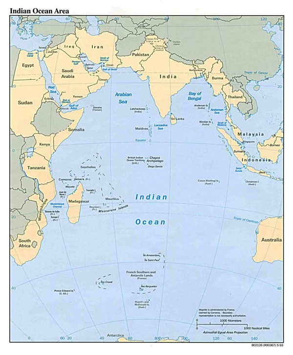 Large political map of Indian Ocean Area - 1993.