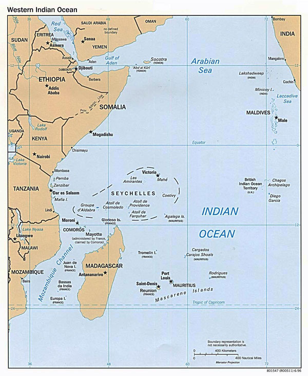 Large political map of Western Indian Ocean - 1996.