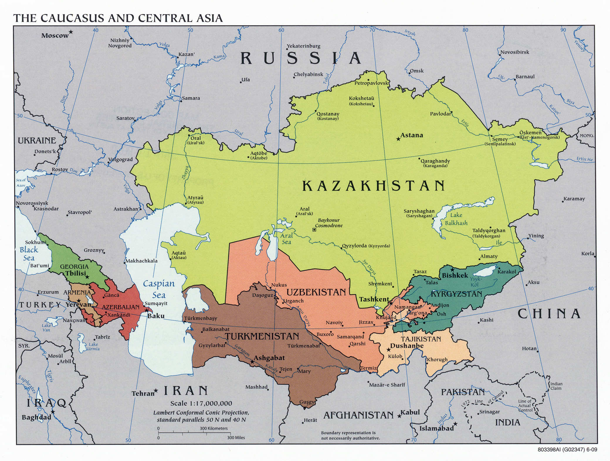 Political Map Of Central Asia.Large Political Map Of The Caucasus And Central Asia 2009