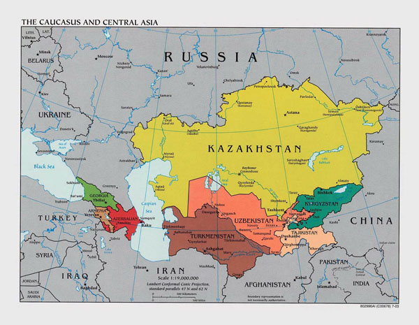Large political map of the Caucasus and Central Asia with capitals - 2003.