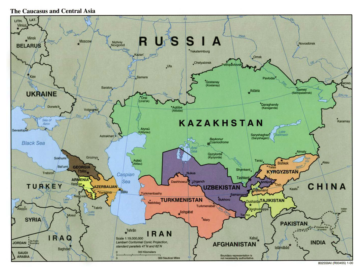 Large political map of the Caucasus and Central Asia with capitals ...