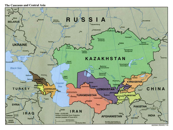 Large political map of the Caucasus and Central Asia with capitals and major cities - 2000.