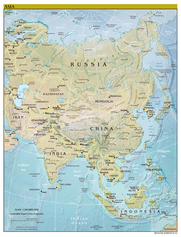 Large scale political map of Asia with relief - 2012.