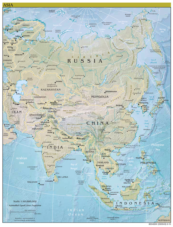 Large scale political map of Asia with relief and major cities - 2010.