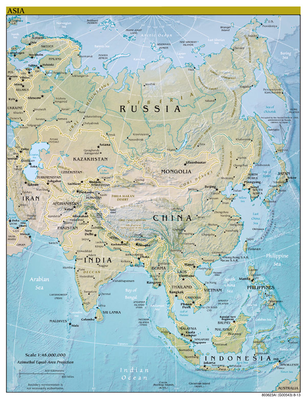 Large scale political map of Asia with relief, capitals and major cities - 2013.