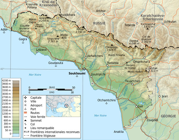 Physical map of Abkhazia. Abkhazia physical map.