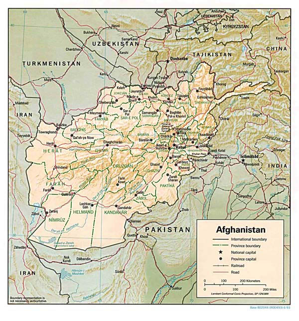 Detailed relief map of Afghanistan. Afghanistan detailed relief map.