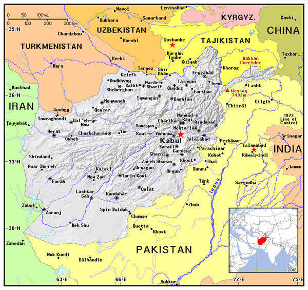 Political map of Afghanistan. Afghanistan political map.