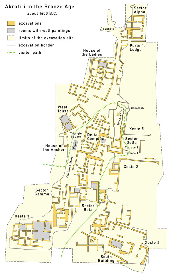 Detailed map of Akrotiri 1600 BC English.