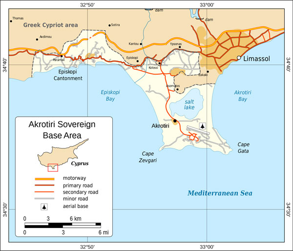 Detailed political map of Akrotiri. Akrotiri detailed political map.