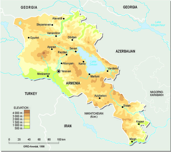 Detailed topographical map of Armenia.