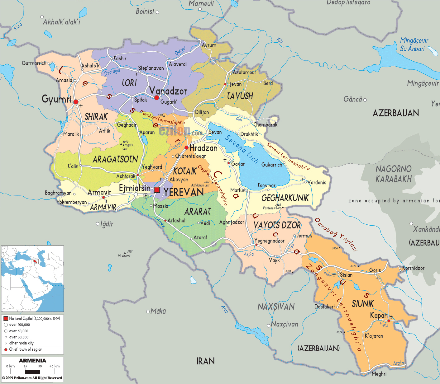 Large detailed road and administrative map of Armenia ...