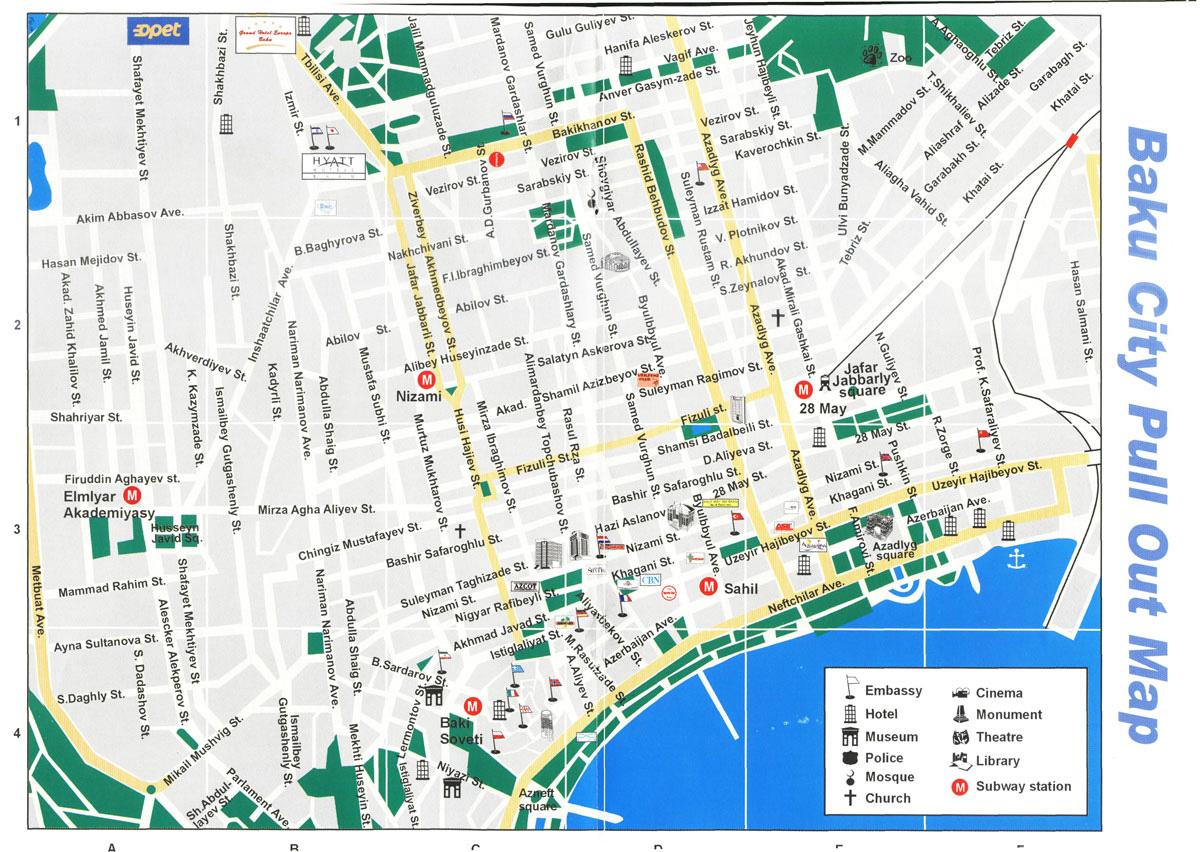 Baku city road map Road map of Baku city Vidianicom Maps of