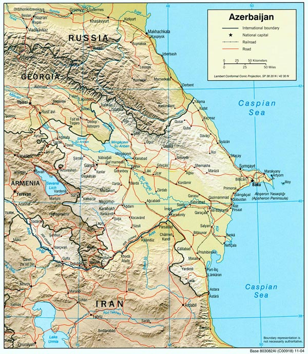 Detailed road and political map of Azerbaijan.