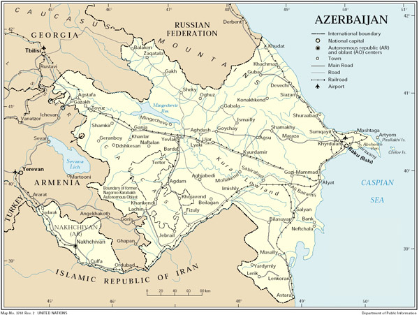 Full road map of Azerbaijan. Azerbaijan full road map.