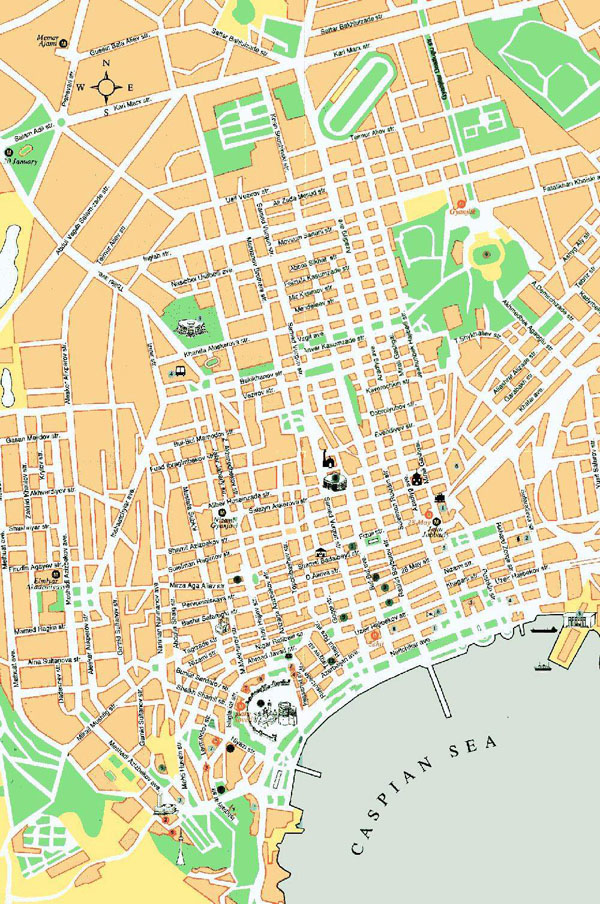 Large Baku city road map. Baku city large road map.
