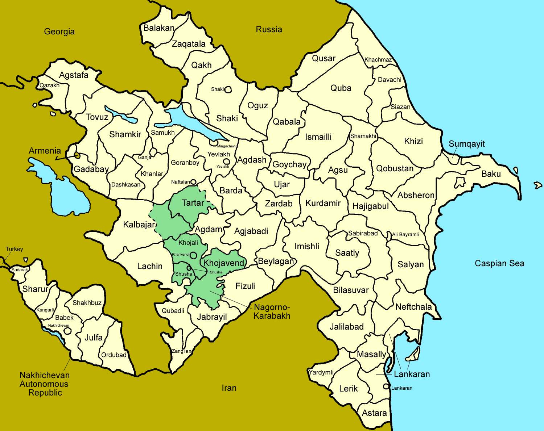 Large detailed administrative map of Azerbaijan Azerbaijan large
