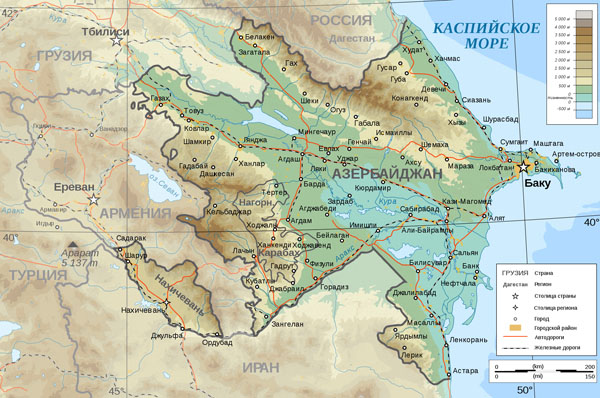 Road and physical map of Azerbaijan in Russian.
