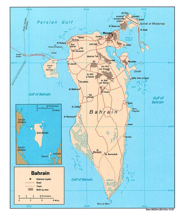 Bahrain political and road map. Political and road map of Bahrain.