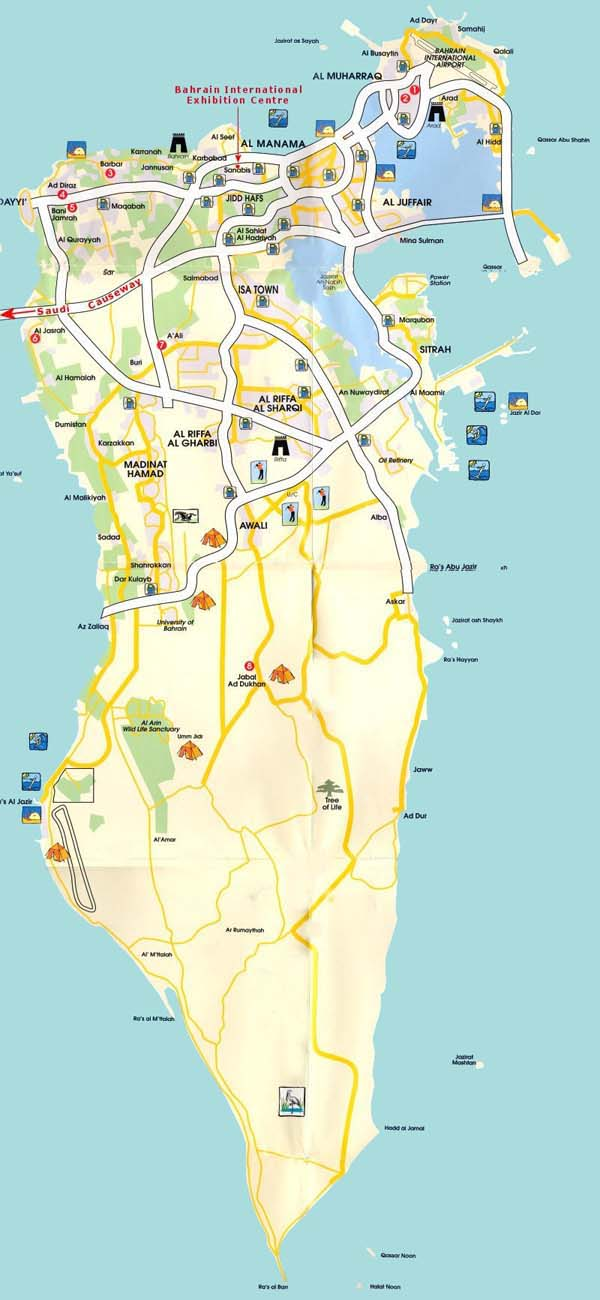 Detailed road and tourist map of Bahrain.