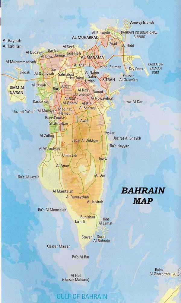 Road and physical map of Bahrain. Bahrain road and physical map.