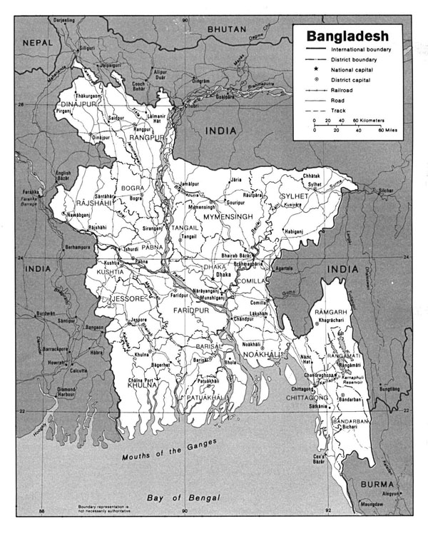 Administrative map of Bangladesh. Bangladesh administrative map.