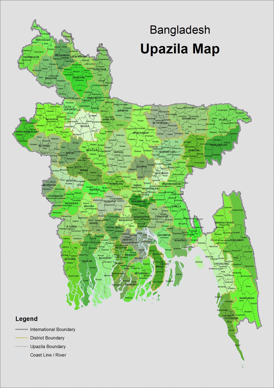 Full Administrative Map Of Bangladesh  Bangladesh Full
