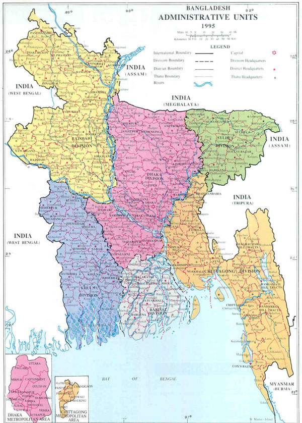 Large detailed administrative map of Bangladesh.