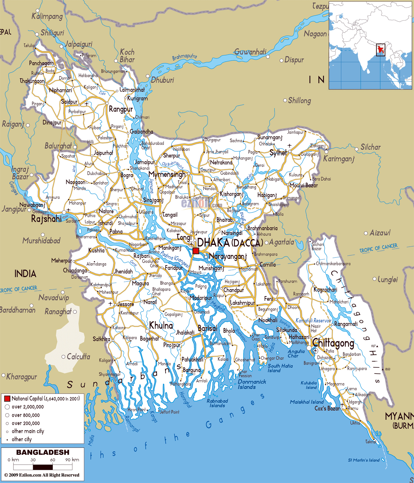 large detailed road map of bangladesh with all cities roads and airports