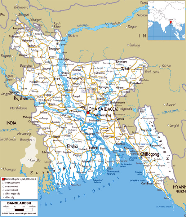 Large detailed road map of Bangladesh with all cities, roads and airports.