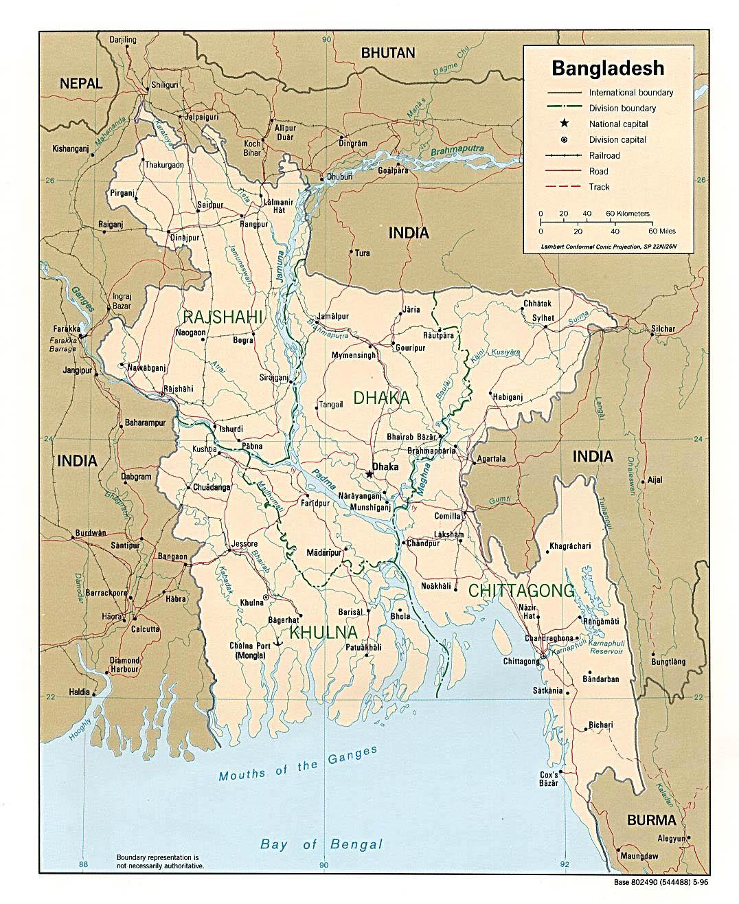 Road and political map of Bangladesh Bangladesh road and political