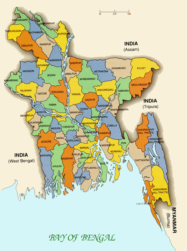 Small administrative map of Bangladesh. Bangladesh small administrative map.