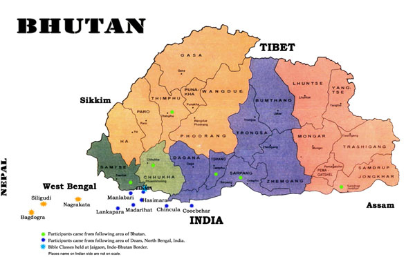 Administrative map of Bhutan. Bhutan administrative map.