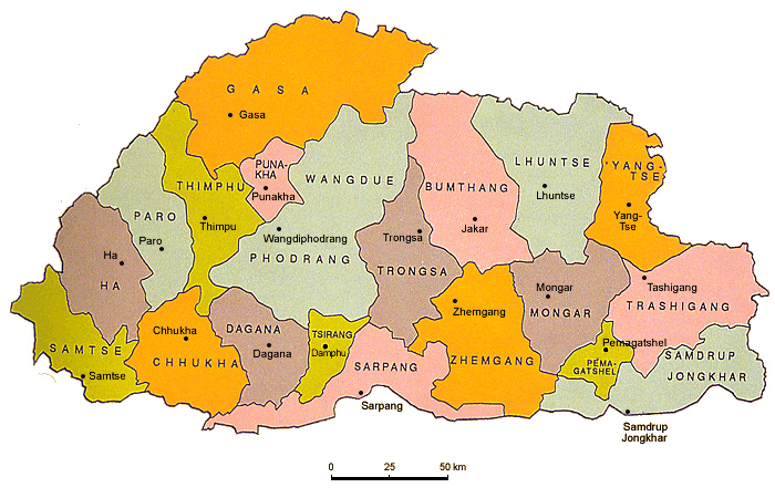 Color administrative map of Bhutan. Bhutan color administrative map.