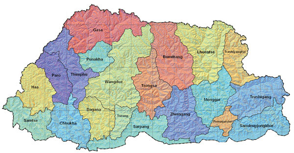 Detailed administrative and relief map of Bhutan.