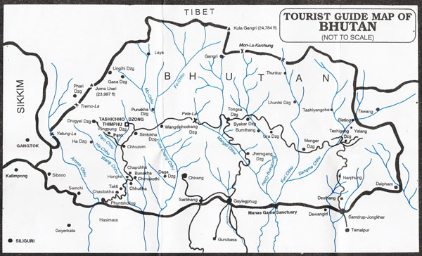 Detailed guide map of Bhutan. Bhutan detailed guide map.